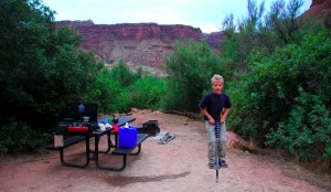 Pogo stick in the campsite